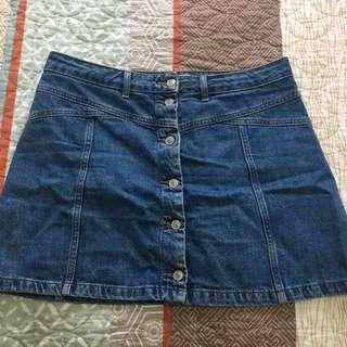 TopShop Moto Mid-Wash Denim Skirt