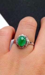 🌸18K White Gold - Grade A 水润 Green Cabochon Jadeite Jade Ring🍀