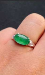 🍀18K White Gold - Grade A 水润 Green Cabochon Jadeite Jade Ring🍀