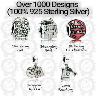 Over 1000 Designs (925 Sterling Silver Charms) To Choose From, Compatible With Pandora, T20