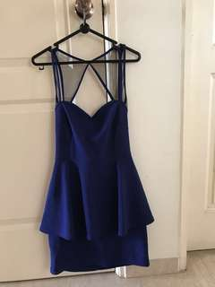 Electric blue halter neck peplum dress