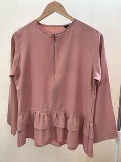 Blus Double Ruffle Pink