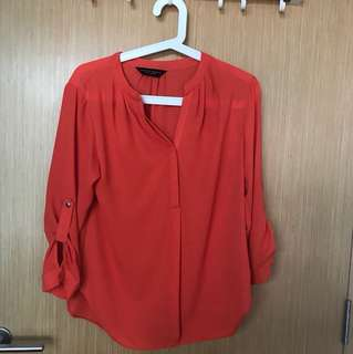 Dorothy Perkins Bright Orange 3/4 Sleeved TOP Size 34 (eur) /m