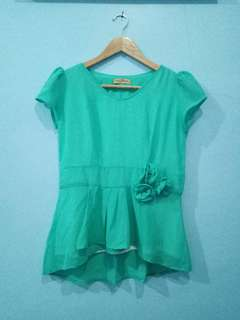 To be collection mini top dress cute hijau bunga peplum cantik