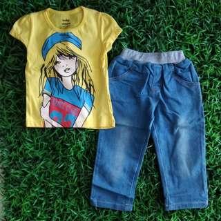 Girl Set Kaos + Jeans Yellow