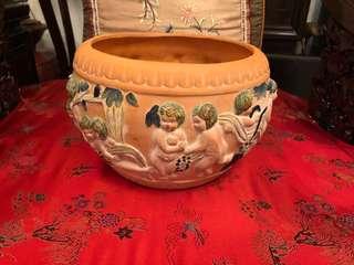 Vintage ceramic 3D naked children's flower pot