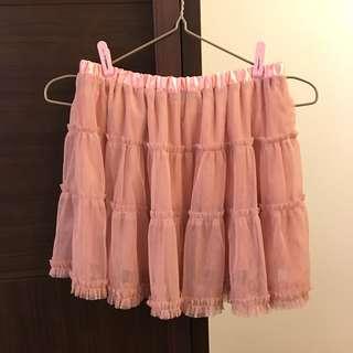 🚚 日貨粉橘紗裙 日本日系