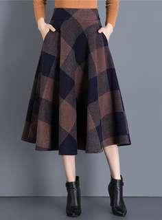 Long: Korean Plaids Wool A-Line Long Skirt (S / M / L / XL / 2XL) - OA/MKD112309
