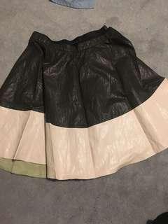 Zara pleather pleated skirt