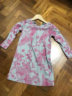 GAP Pink & Grey Floral Dress 5y
