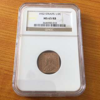 Straits 1932 Half Cent UNC coin