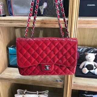 Chanel紅色漆皮單蓋大號鏈條包尺寸30/9/20