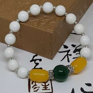 Natural Yellow Chalcedony with Tridacna Bracelet - Code M01