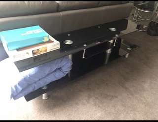 Tv unit - black glass and stainless steel