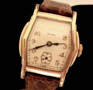 30/40年代 瑞士品牌 MIMO腕錶 Swiss Mimo Mechanical Manual Wind Watch 機械上錬男女合用腕錶:100%原裝錶面及包金錶殼細三針運行,Size: 28mm x 28mm,運作中。