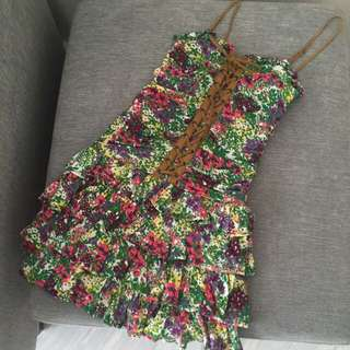 Preloved Floral Corset Style Garden Ruffle Dress