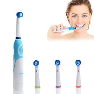 Electric Toothbrush Battery Operated with 4 Brush Heads