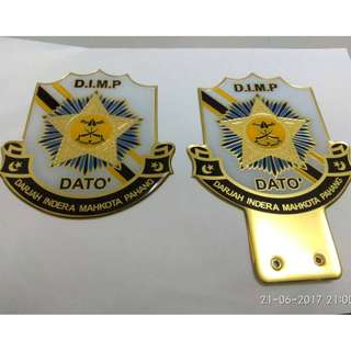 DIMP Car WHITE Plated Emblem Badge Logo for Number Plate