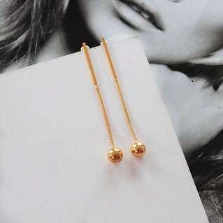 E53 Minimalist Golden Long Chain Earrings