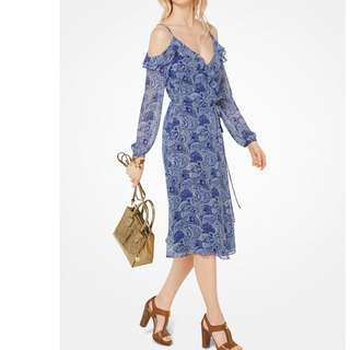 Authentic MICHAEL MICHAEL KORS Paisley Georgette Peekaboo Wrap Dress(70%OFF)