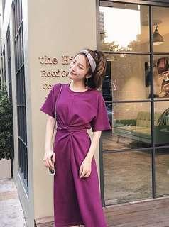 🚚 韓國氣質長版縮腰洋裝