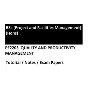 PF2203 Quality and Productivity Management