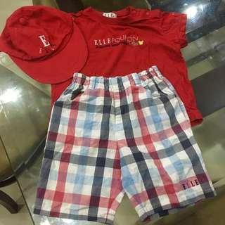 ‼️SALE‼️❤️Authentic Elle Poupon Red Cap, Shirt and Shorts❤️