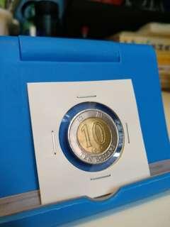 錯體壓紋明顯移位1996年拾圓十元10元港幣