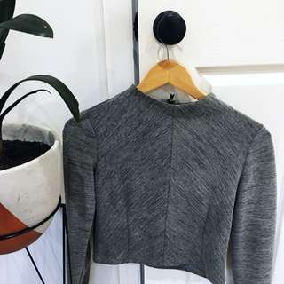 Zara Grey Textured Top
