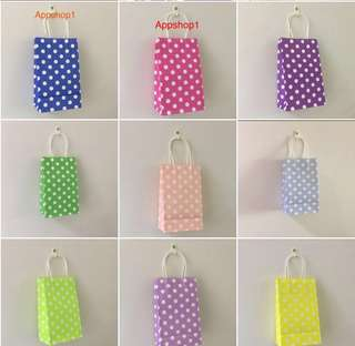 Colorful polka dot paper bag, children party goodies bag, birthday goodie bag packages, door gift bag