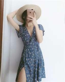 BLUE FLORAL WRAP DRESS
