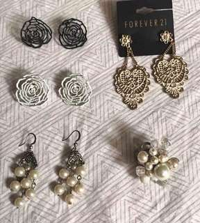 Take all 5 pcs earrings and ring