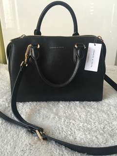 Charles & Keith Medium Zip Black Shoulder Leather Bag