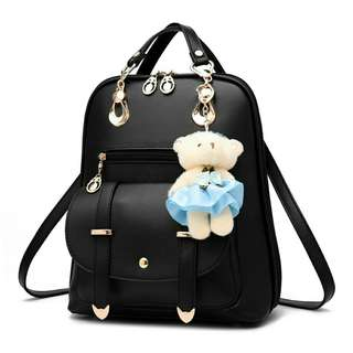 Women's Backpack with Bear Keychain