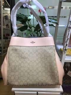 f27579 粉紅色皮拼經典織布雙層單肩手袋