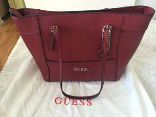 Guess Red Leather Shoulder Bag