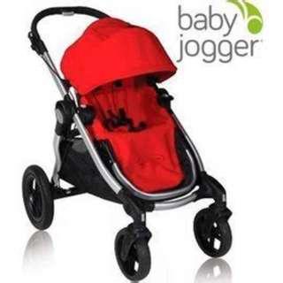 (全新)美國Baby Jogger City Select 雙人嬰兒/娃娃推車(銀管+紅)