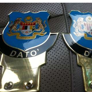 Jata Dato BLUE Car Gold Plated Emblem Badge Logo for Number Plate