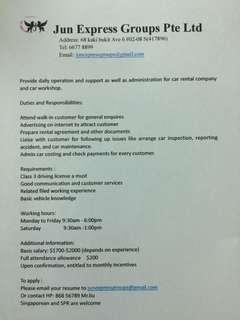 Admin for car workshop
