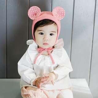 Instock - pink bear bonnet hat, baby infant toddler girl children cute glad 123456789 lalalallala