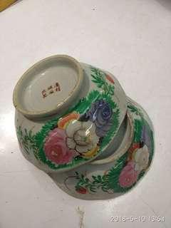 上世纪50年代 通利磁厂出品  花碗一对