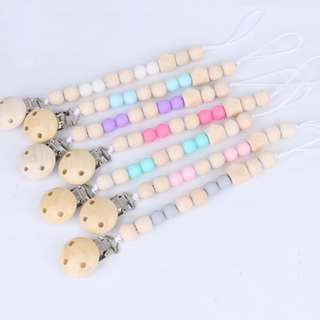 New Baby Boys Girls Pacifier Clips Leases Toy Holders Gumdrops Wooden Silicon Beads