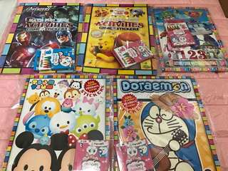 Instock limited Stock kids activities /Coloring And Stickers book .. avenger x 3sets Winnie x 1 set .. robopoli x 2 set (activities Book) and Doraemon x 4set and Tsum tsum x 3set (Coloring And Stickers Book)
