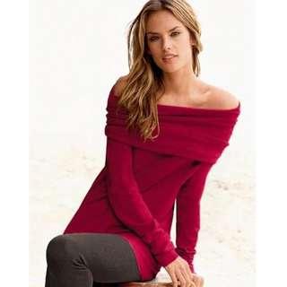 VS Victoria's Secret Off-The-Shoulder Tunic Sweater