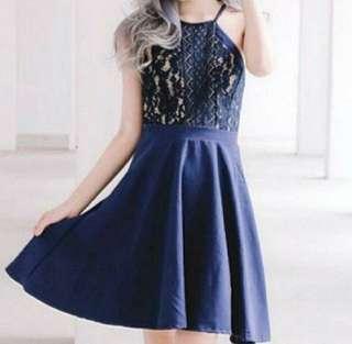 BN Blue Lace Crochet Halter Skater Dress (Pending, helloox)