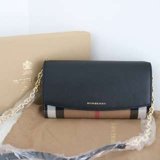 Burberry House check and leather WOC wallet on chain