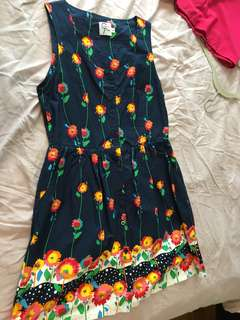 Fit and flare button cotton dress
