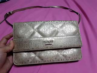 Guess gold cross body bag