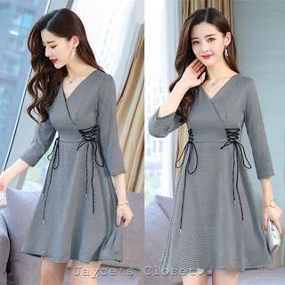 Side Lace Up V-Neck Checkered Dress