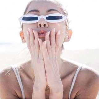 Retro Small Oval Frame Rectangular Lenses Sunglasses